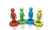 Colorful gear people turning together Stock Footage