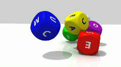 Several multicolor rolling dices against a white background Stock Footage