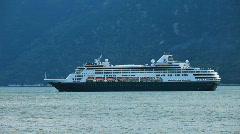 Cruise ship in Alaskan Fjord P HD 0011 Stock Footage