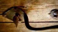Stock Video Footage of Rusty metal heck on the old wooden door