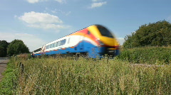 A Meridian passenger train on the Midland line passing through Leicestershire. Stock Footage
