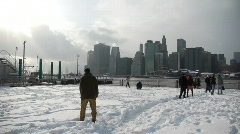 Stock video footage game in snowballs on a background of Manhattan - stock footage