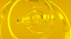 Caption of rotating gold glass rings Stock Footage