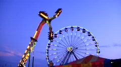 Ferris Wheel and Carnival Rides - Night (HD) c Stock Footage