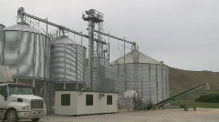 Grain silo and truck Stock Footage