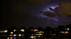 Timelapse thunder lightning above city - stock footage