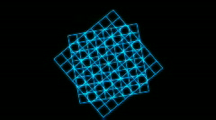 Rotating blue square grid,tech data geometry background. Stock Footage