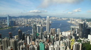 Stock Video Footage of Hong Kong City skyline (zoom in)
