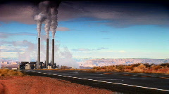 Pollution from Power Station Chimneys  Stock Footage