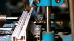Drill prepare hole in plastic - window manufacture Stock Footage