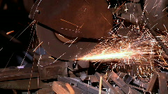 Cut metal profile - sparkle fly out Stock Footage