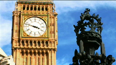 Big Ben and Fence Crown Stock Footage
