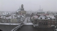Stock Video Footage of Leiden topshot city snow