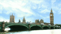 Westminster Bridge and Houses of Parliament WS Stock Footage