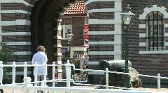Leiden Morsbrug boat Stock Footage