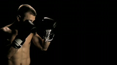 Boxer Throwing Punches Stock Footage