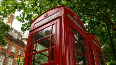 Low Angle Red Phone Booth Stock Footage
