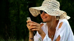 Girl With MP3 Player - stock footage