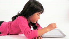 Child Little Girl Using Touchscreen Computer Stock Footage