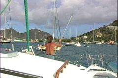 Captain on bow-cu Stock Footage