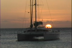 Catamaran at Sunset-cu Stock Footage