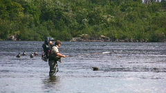 Father And Son Fly Fishing Stock Footage