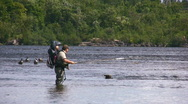Stock Video Footage of Father And Son Fly Fishing