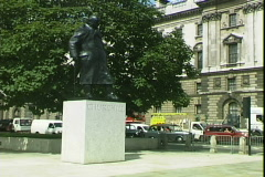 Stock Video Footage of Churchill Statue