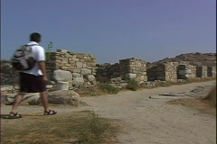 Delos Agora Tourists-zooms Stock Footage