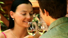 Young Couple Drinking Wine Stock Footage