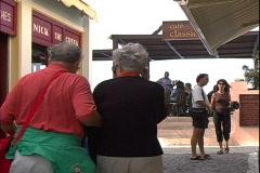 Fira Tourists-zoom Stock Footage