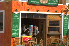 Fira Waffle Cafe Stock Footage