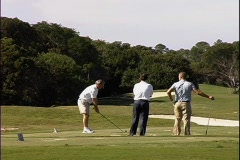 Golfer Practice Drive Stock Footage
