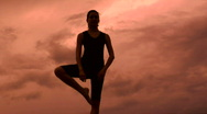 Leg Stretch At Sunset Stock Footage