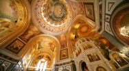 Stock Video Footage of Panning of ceiling of orthodox the Cathedral of the Redeemer