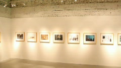 Blurred art pictures in exhibition hall Stock Footage