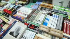 Books in russian language in bookshop Stock Footage