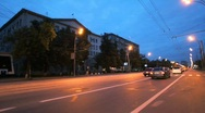 Night moscow city car driving Stock Footage