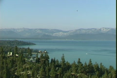 Lake Tahoe Boat-Balloon-xws Stock Footage