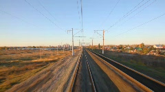Camera moving on rails past country Stock Footage