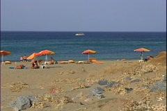 Malia Beach & Boat-zoom Stock Footage