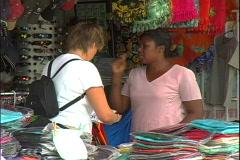 Open Market Shopper-cu Stock Footage