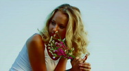 Girl with a bouquet Stock Footage