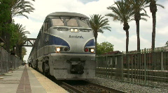 Amtrak Train Departs Station Stock Footage