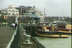 Riverwalk Tug Boats Stock Footage