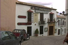 Stock Video Footage of Ronda Restaurante & Tourists