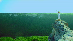 At the edge of the cliff Stock Footage