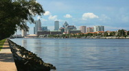 Tampa Skyline from Davis Islands Stock Footage