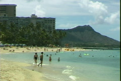 Waikiki Beach-pan Stock Footage
