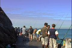 Walkway Fishing-zoom-pan Stock Footage